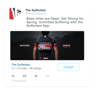 Sufferfest ads for Twitter