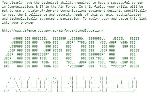 Defense Force's hidden message in banner source code