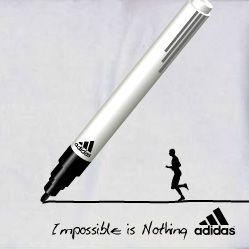 "Entertaining banner from Adidas with slogan ""Impossible is Nothing"""