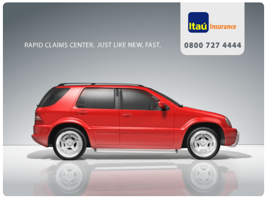 Banner ads for Itau - rapid claims center, just like new, fust