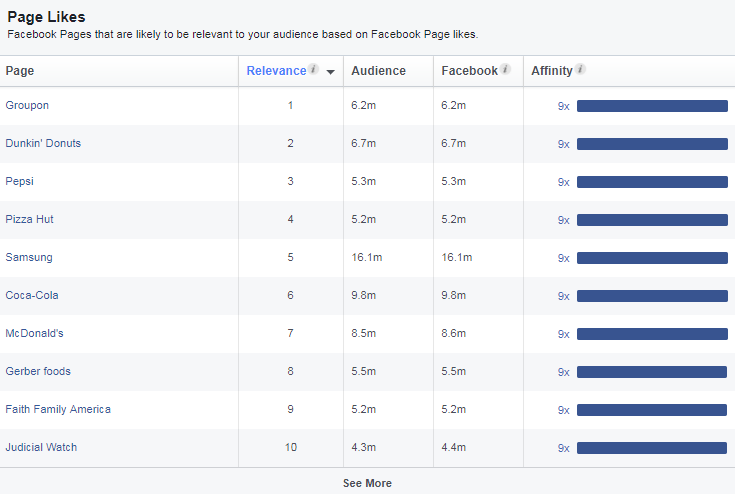 Pages with the biggest amount of likes, analysis with Facebook audience insights