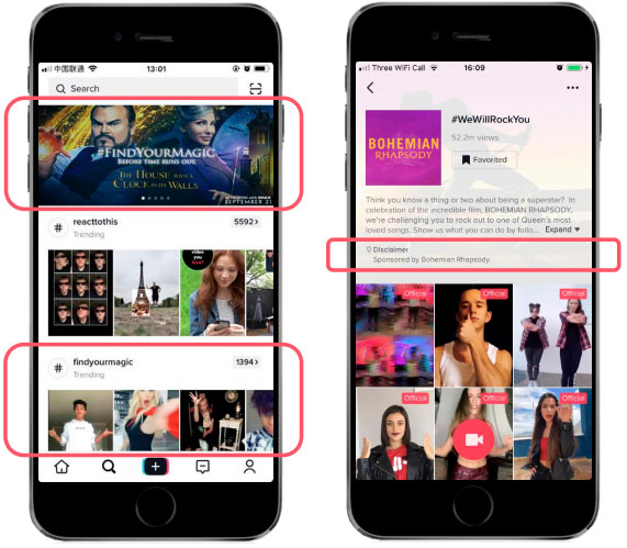The main format of advertising on TikTok is hashtag Challenge